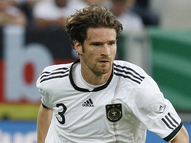 Germany's Arne Friedrich in action against Uruguay on May 30, 2011