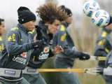 Brazilian internationals David Luiz and Thiago Silva in training on June 23, 2011