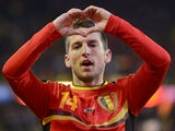 Belgium's Dries Mertens celebrates after scoring against Slovakia on February 6, 2013