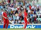 Jonathan Trott celebrates hitting the winning runs during the ICC Champions Trophy semi final against South Africa on June 19, 2013