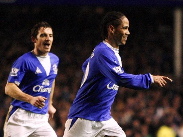 Leighton Baines and Steven Pienaar celebrate the latter's goal for Everton.