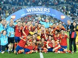 Spain celebrate winning the u21 Euro Champs on June 18, 2013