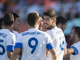 Greece's Andreas Bouchalakis celebrates scoring his side's first goal during the Under-20 World Cup match against Mexico on June 22, 2013