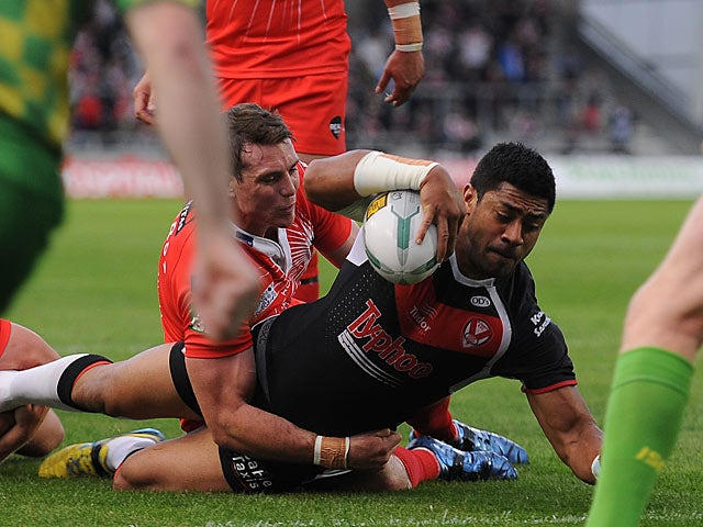 St Helen's Willie Manu scores his second try of the match against Salford City Reds on June 21, 2013