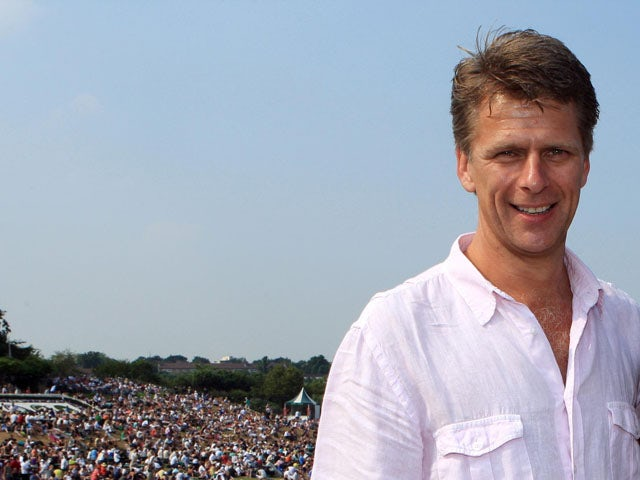 BBC presenter Andrew Castle during the Wimbledon Championships on July 2, 2009
