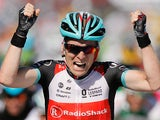 Jan Bakelants celebrates after crossing the finish line to win the second stage of the Tour de France on June 30, 2013