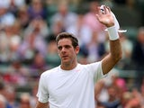 Argentina's Juan Martin Del Potro celebrates defeating Spain's Albert Ramos on the second day of Wimbledon on June 25, 2013