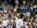 Juan Martin Del Potro of Argentina reacts after defeating Jesse Levine of Canada in their Men's second round singles match on June 27, 2013