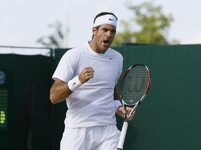 Juan Martin Del Potro of Argentina reacts after winning his Men's singles match against Grega Zemlja of Slovenia at the Wimbledon Tennis Championships on June 29, 2013