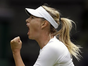 Maria Sharapova celebrates her win over Kristina Mladenovic  on June 24, 2013