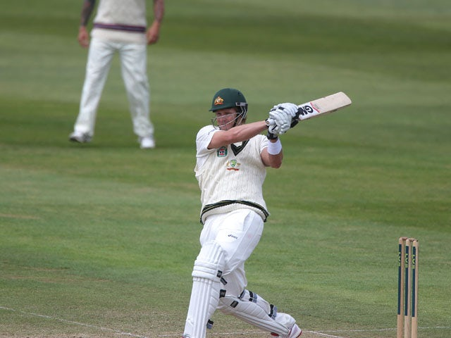 Australia's Shane Watson bats during his innings of 90 during the International Tour match at the County Ground on June 27, 2013