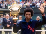 Arthur Ashe with the Wimbledon trophy after winning the men's singles on July 5, 1975