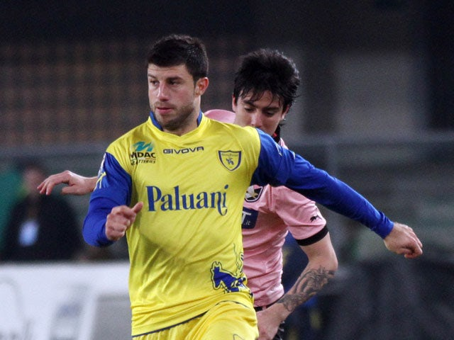 Chievo defender Bojan Jokic in action during the match against Palermo pon February 16, 2013
