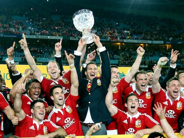 The Lions celebrate series victory over Australia on July 6, 2013