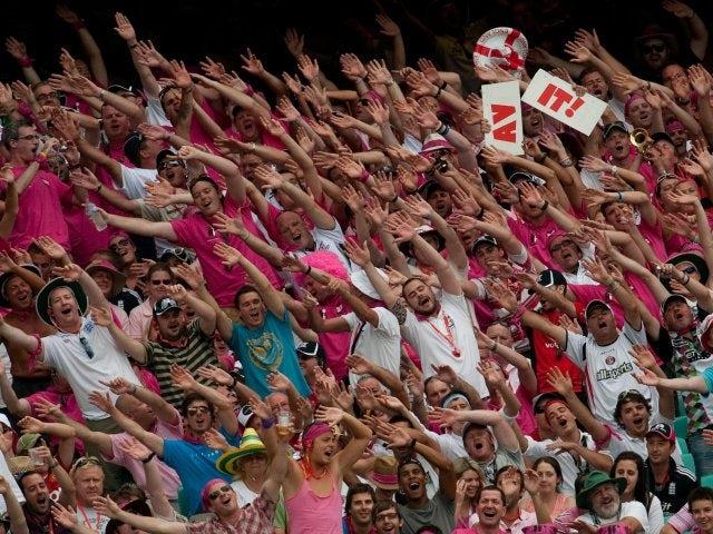 English cricket fans celebrate in Sydney.