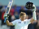 Joe Root celebrates making a century for England against New Zealand.