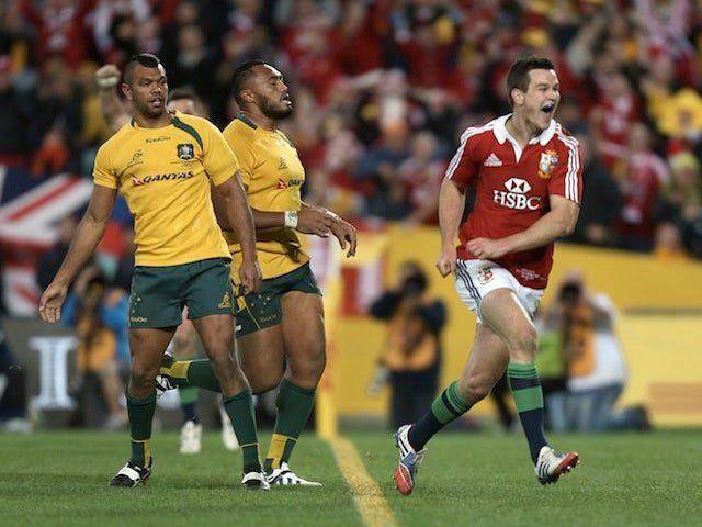 Jonny Sexton celebrates the second try against Australia on July 6, 2013