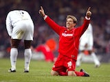 Juninho celebrates winning the League Cup with Middlesbrough.