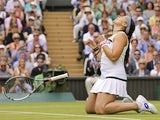 Marion Bartoli celebrates beating Kirsten Flipkens on July 4, 2013