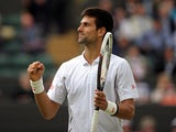 Serbia's Novak Djokovic celebrates beating Czech Republic's Tomas Berdych on July 3, 2013