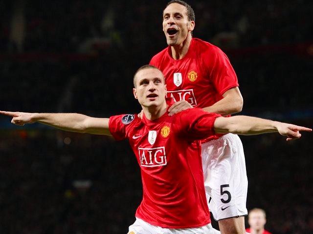 Rio Ferdinand and Nemanja Vidic celebrates the latter's goal against Inter Milan.