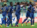 France players react after Kurt Zouma scored their fourth goal during the Under-20 World Cup quarterfinals match between France and Uzbekistan on July 6, 2013