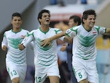 Iraq's Ali Faezcelebrates after scoring his team's opening goal during the Under-20 World Cup quarterfinal soccer match between Iraq and South Korea on July 7, 2013