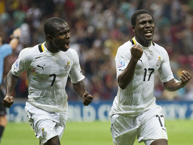 Ghana's Ebenezer Assifuah celebrates scoring during the Under-20 World Cup quarter final soccer match between Ghana and Chile on July 7, 2013