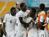 Ghana's Yiadom Boakye is congratulated by team mates after scoring his team's third goal against Portugal during the U20 Word Cup on July 3, 2013