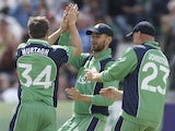 Irish cricketers celebrate a wicket against Pakistan on May 26, 2013