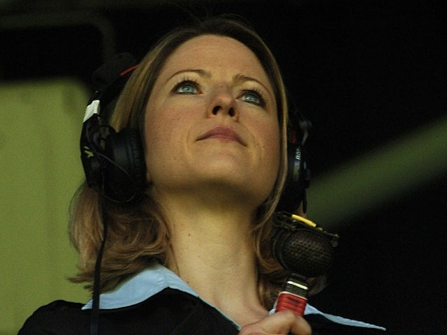 MOTD commentator Jacqui Oatley sits in the stands on April 21, 2007