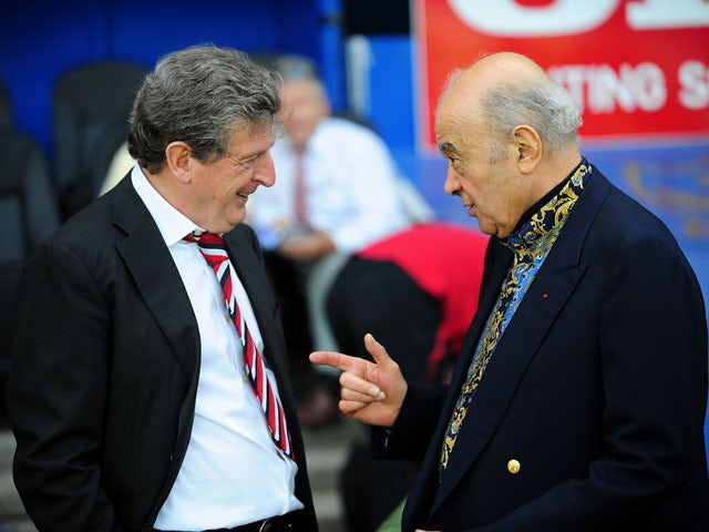 Fulham manager Roy Hodgson and Fulham owner Mohamed Al-Fayed before the match against Portsmouth on May 11, 2008