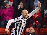 St Mirren's Sam Parkin celebrates a goal against Aberdeen on October 30, 2012
