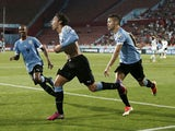 Uruguay's Gonzalo Bueno celebrates after scoring the equalizer against Iraq during their Under-20 World Cup semi final on July 10, 2013