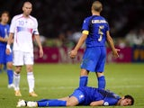 Zinedine Zidane looks on after headbutting Marco Materazzi.