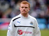 Newcastle United's Adam Campbell during a warm up on April 7, 2013