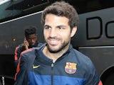 Barcelona's Cesc Fabregas steps off the team bus on July 15, 2013