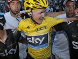 Chris Froome reacts to winning the Tour de France on July 21, 2013