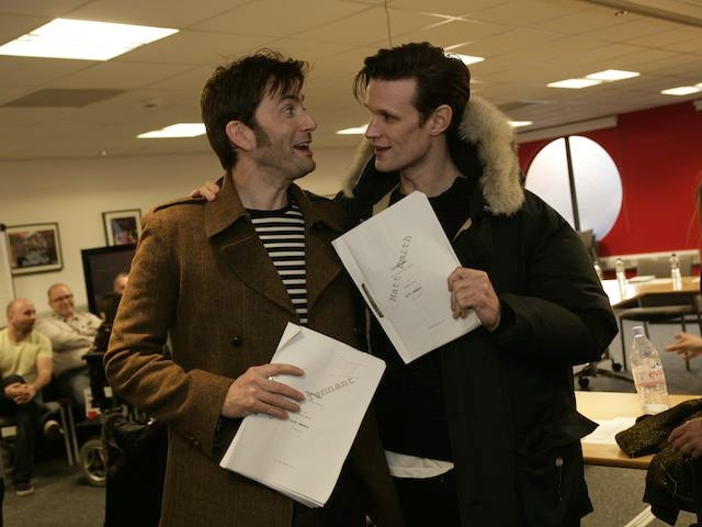 David Tennant and Matt Smith at the table read for the Doctor Who 50th anniversary episode