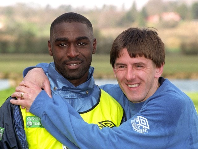 Peter Beardsley and Andy Cole on international duty with England.