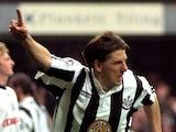 Peter Beardsley celebrates scoring against Queens Park Rangers.