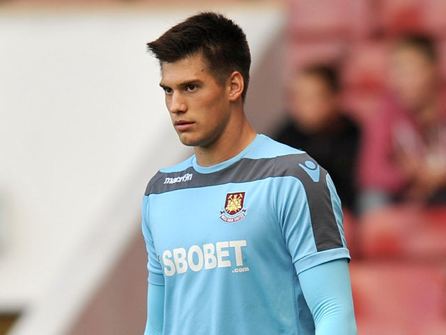 West Ham's Raphael Spiegel during a warm up on October 6, 2012