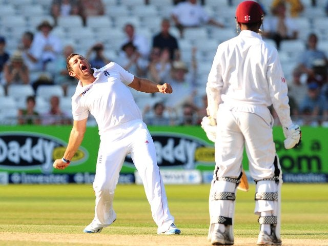 Tim Bresnan celebrates taking a wicket against the West Indies.
