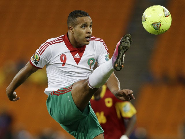 Morocco's Youssef El Arabi controls the ball during their African Cup of Nations match against Angola on January 19, 2013