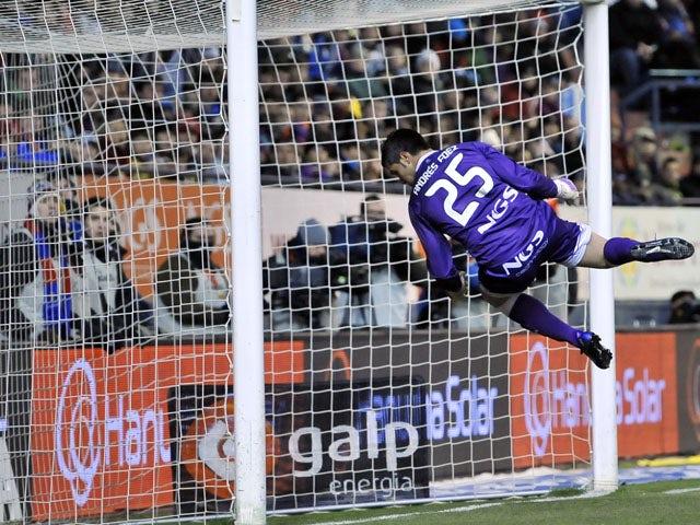 Osasuna's goalkeeper Andres Fernandez during their La Liga match against Barcelona on February 11, 2012