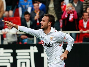 Sevilla's Cala celebrates his goal on April 17, 2010