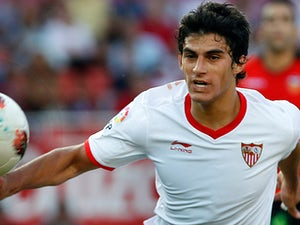 Sevilla's Diego Perotti in action on September 24, 2011
