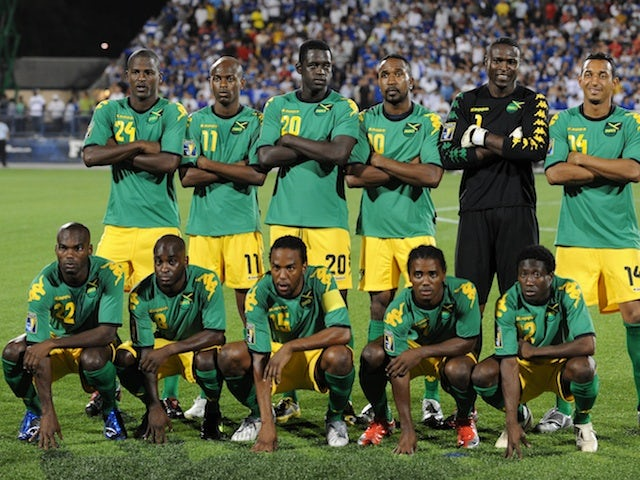 Jamaica line up for a match with El Salvador on July 10, 2009