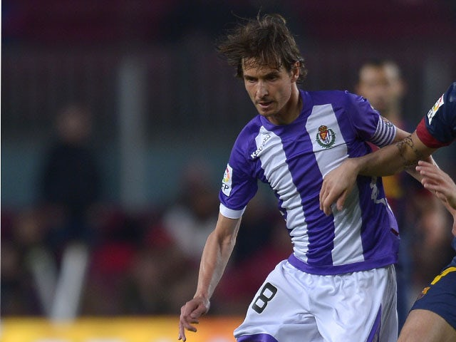 Valladolid's Javier Baraja in action during the La Liga match against FC Barcelona on May 19, 2013