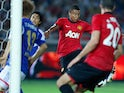 Manchester United's Jesse Lingard scores his team's first goal against Yokohama F-Marinos during a friendly match on July 23, 2013